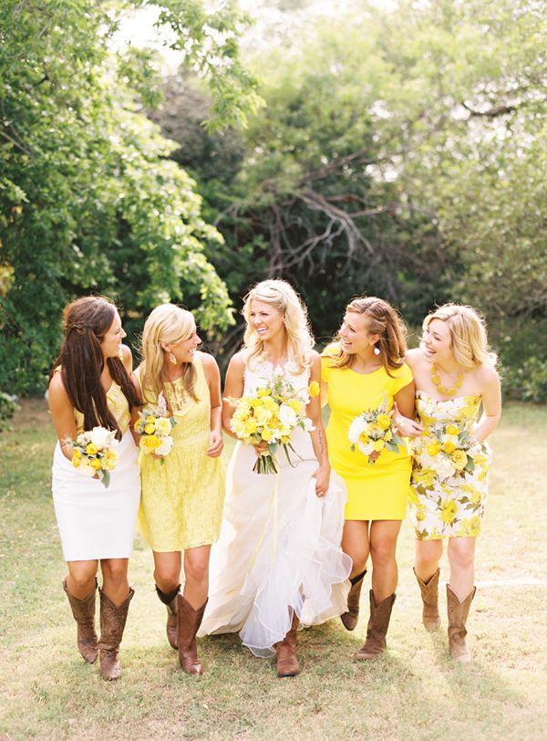 Mismatched and printed bridesmaid dresses. Photo: Ryan Ray Via Snippet & Ink
