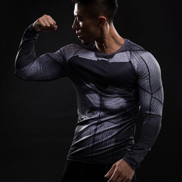 Batman Long Sleeve Men/'s T-shirt Compression 3D Printed Gym Fitness Sports Tops