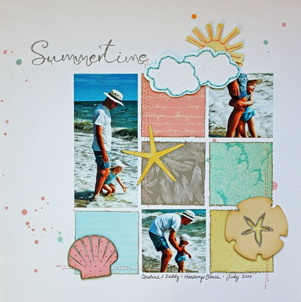 #papercrafting #scrapbook #layout So simple yet it is so clean and feels like summer!!!