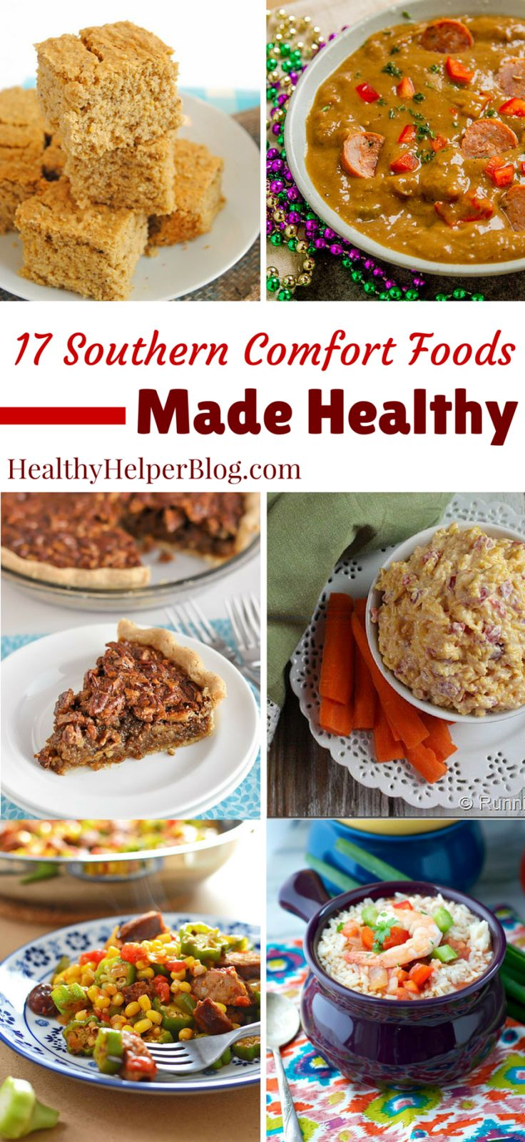 17 Southern Comfort Foods Made Healthy from Healthy Helper Blog...all the foods and flavors you love made nutritious and delicious! From Jambalaya to Pecan Pie...this roundup has it all! http://healthyhelperblog.com?utm_source=utm_source%3DPinterest&utm_medium=utm_medium%3Dsocialmedia&utm_campaign=utm_campaign%3Dblogpost