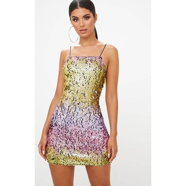 Gold Strappy Square Neck Holographic Sequin Mini Dress ($32) ❤ liked on Polyvore featuring dresses, yellow, sequin cocktail dresses, white sequin cocktail dress, white dress, short white cocktail dresses and gold sequin cocktail dresses