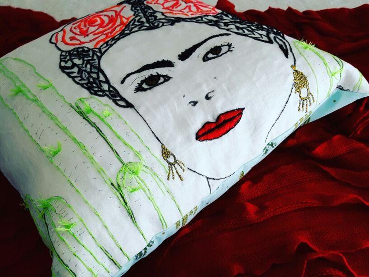 Hand designed and embroided details for a custom order for @beachsideemporium. Frida cushion #frida #fridakahlos