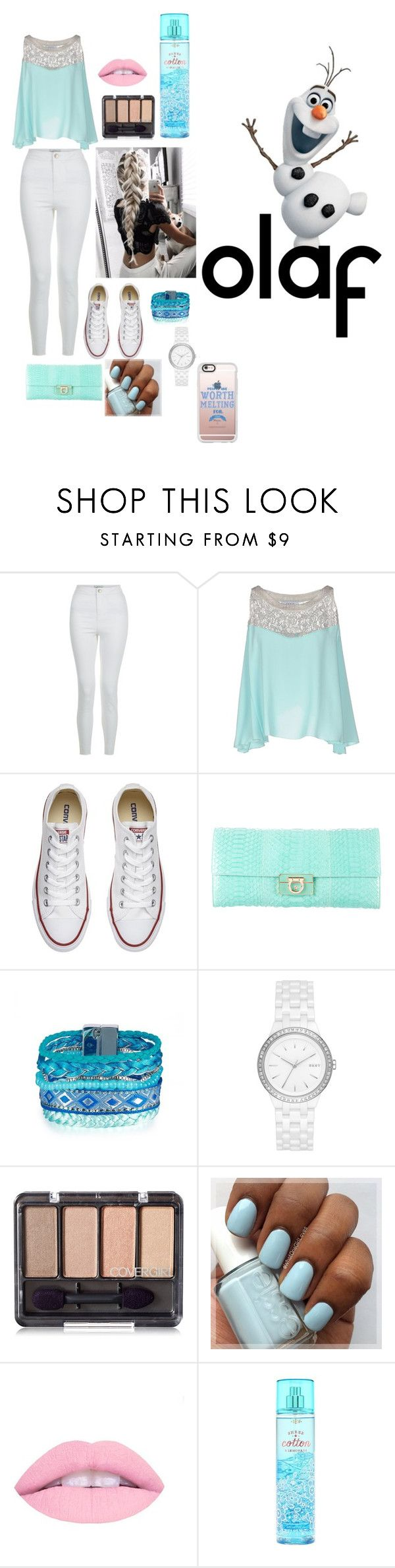 """""""Olaf-Disneybound"""" by chelseafullerton ❤ liked on Polyvore featuring New Look, Axara, Disney, Converse, Salvatore Ferragamo, DKNY and Casetify"""