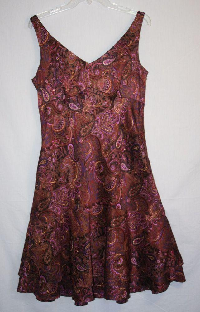 Ann Taylor Loft Paisley Silk Dress Size 10 Sleeveless V Neck Lined Women's Fashion Spring Summer