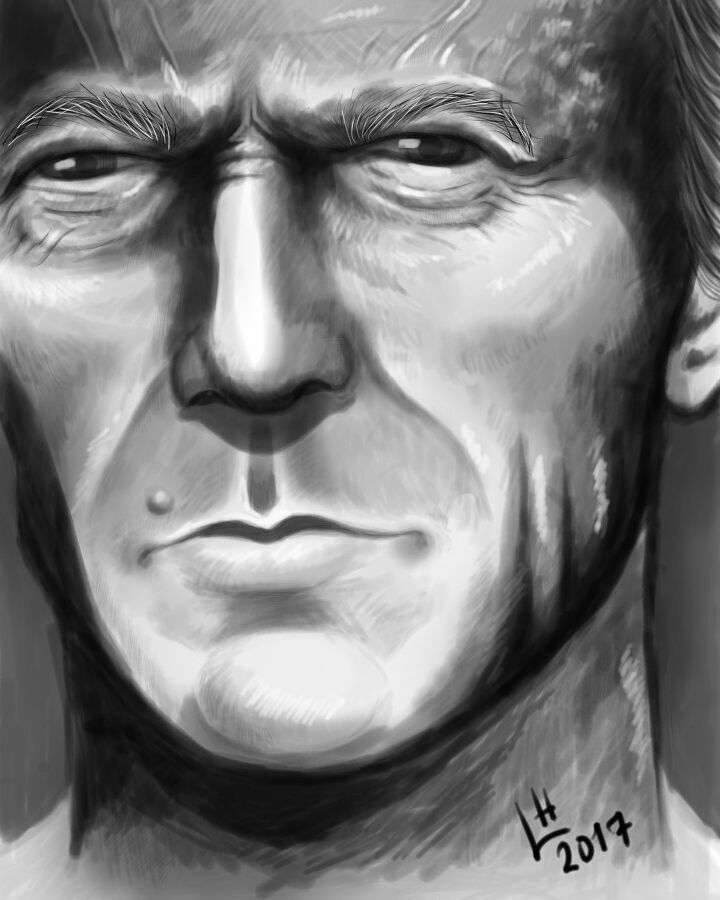 "(@candycandy362)  ""#Clinteastwood Drawing i made on my phone. It was pretty fun!"""