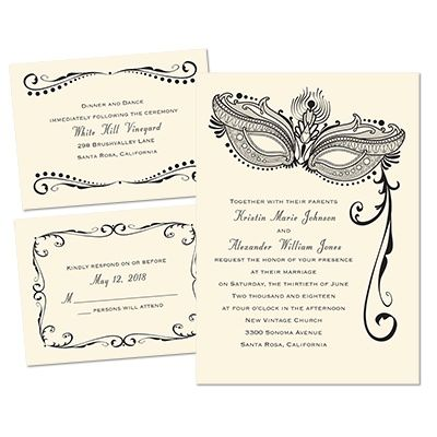 "Masquerade themed wedding invitation! Love it!   ""Masked Mystique"" 3 for 1 Invitation in Ecru. Printed using raised ink and you can change the color to match your wedding colors!"