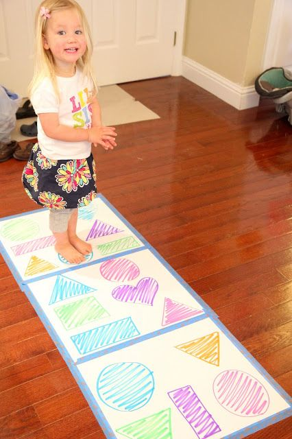 Toddlers will love the idea of shape hopping, call out the shape and color and the child's job is to find the shape and matching color. Great for large motor development and body and eye coordinations.