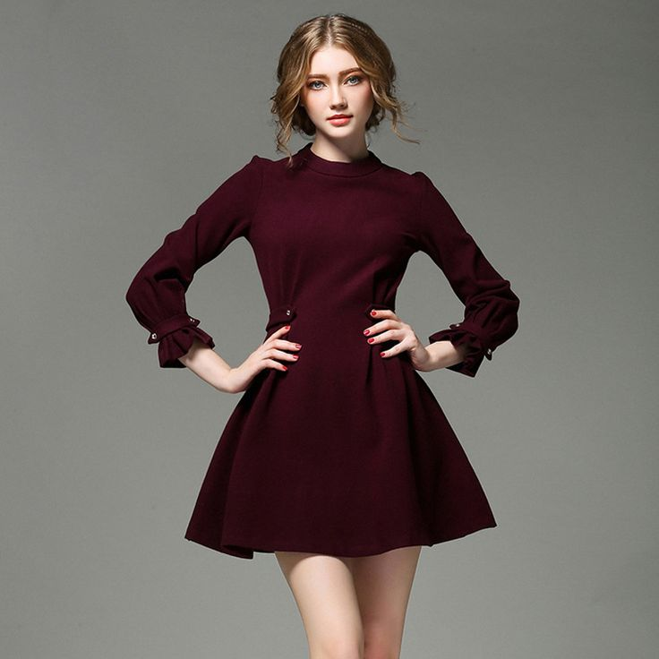 High Quality Brand Woolen Dresses for Women 2015 Fashion Stand Neck Long Sleeve Autumn and Winter Dresses Casual Dress Wine Red