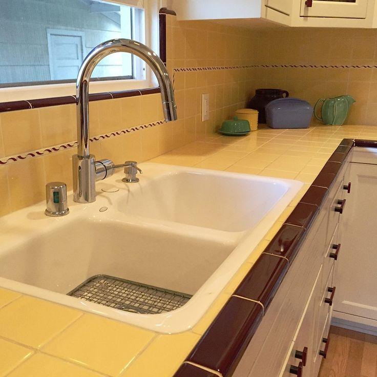 Yellow Tile Kitchen Countertops