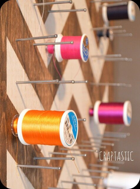 DIY Chevron Sewing Thread Board For Ample Storage And Great Display. Can  Even Keep The Nails Long Enough To Store The Bobbins With The Spools
