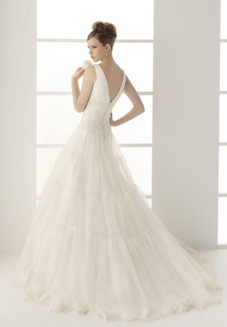 1.V-neck A-line Organza Elegant Wedding Dress  2.Elegant Wedding Dress with Embroidery Detail on Bodice  3.Floor Length Wedding Dress with train