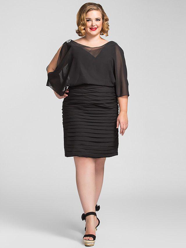 Tamaño vaina / columna v-cuello del vestido de noche de gasa más - MXN $1,352.63
