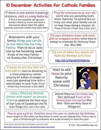 Ten activities to do with your Catholic family in December to strengthen your family's faith life.