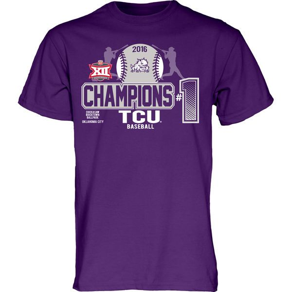 TCU Horned Frogs 2016 Big 12 Baseball Conference Champions Locker Room T-Shirt - Purple - $14.99