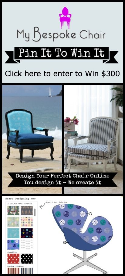Click on the image to enter...don't forget to add your email. Good luck! - Emma  #pinittowinit #contest #giveaway #mybespokechair