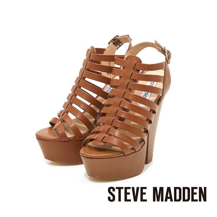 STEVE MADDEN -- 羅馬交織鞋面高水台粗高跟涼鞋-- 夏日棕 - Yahoo!奇摩購物中心