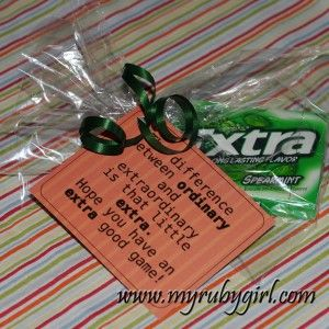 Extra-Ordinary Gum Gifts For Your Sports Team. Free Downloadable Tag.