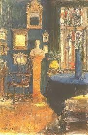Gotthardt Kuehl - Das Blaue Zimmer, 1900 Oil on wood, 53,5 x 35,5