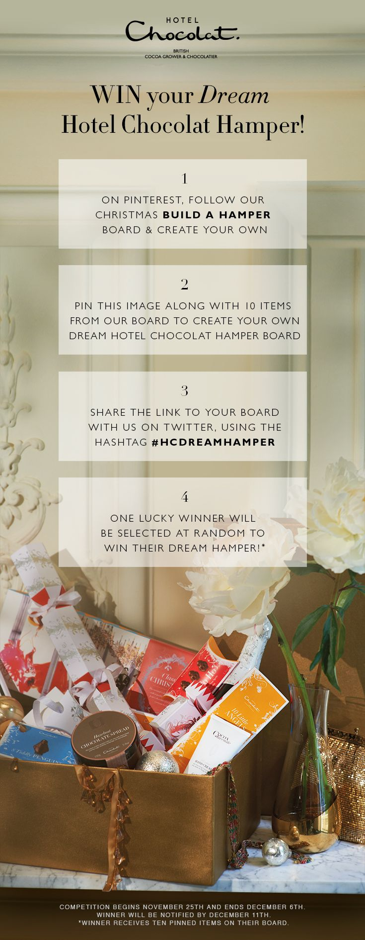 PIN IT TO WIN IT! Enter to win your dream luxury  chocolate hamper for Christmas from #hotelchocolat. #hcdreamhamper #competition