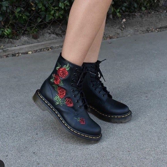 Womens Ladies Black Rose Embroidery Winter Long Lace Up Military Ankle Boots