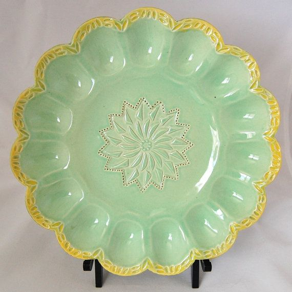 Egg plate in celadon green and yellow by Stone Lotus Pottery & Best 300+ Vintage Egg Platter images on Pinterest | Boiled eggs ...