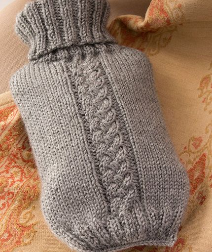 Hot Water Bottle Cover Free Knitting Pattern in Red Heart Yarns