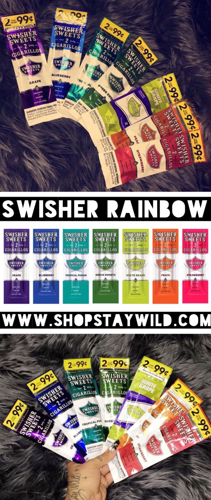 Rainbow swisher sweets blunt set from ShopStayWild.com #love #home #ideas #things #idea #marijuana #cannabis #stoned #high #cannabiscures #legalize #420 #710 #wax #shatter #glass #vape #style #ideas #ganja #kush #cbd #bath #smoke #bongbeauties #alien #ganjagirls #potprincess #bakedbarbie #stonergirl #stoner problems #weed humor #funny #cool