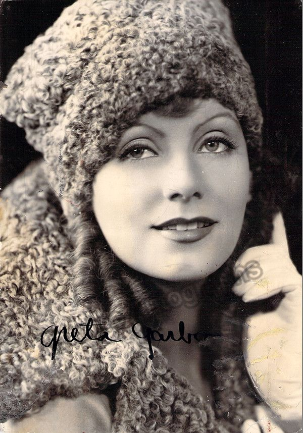 Swedish film actress (1905-1990), a superstar icon during both the silent film era and classic periods. Garbo was active in films between 1920 and 1941. Signed photo, 5.3 x 7.5 inches, ink stamps and