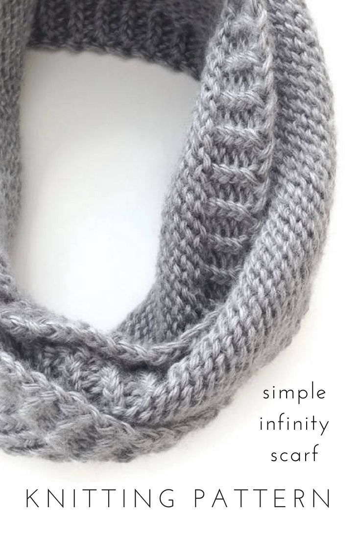 Simple Infinity Scarf Knitting Patterns for Women, Printable PDF ...