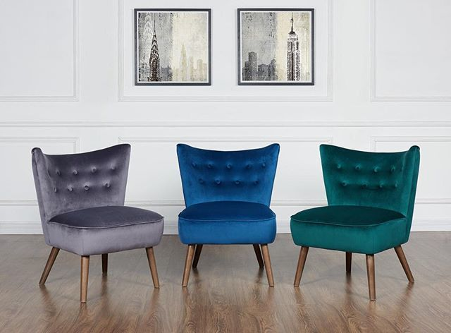 A jewel-toned bevvy of Elle accent chairs to brighten up your showroom floor. Only from WHi  https://www.houzz.com/product/95014353-mid-century-velvet-accent-chair-blue-midcentury-armchairs-and-accent-chairs