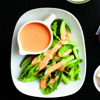 Creamy japanese dressing -  Blend 1/2 cup vegetable oil with 1/4 cup rice vinegar, 2 tbsp each ketchup and light mayo, 1 tbsp grated fresh ginger, 2 tsp each dark sesame oil and honey in a blender, about 2 min. Serve over salad greens.