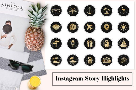 Travel Instagram Story Highlights, Gold & Black Marble Highlight Covers, Holiday Instagram Icons, Summer Instagram Content Icons