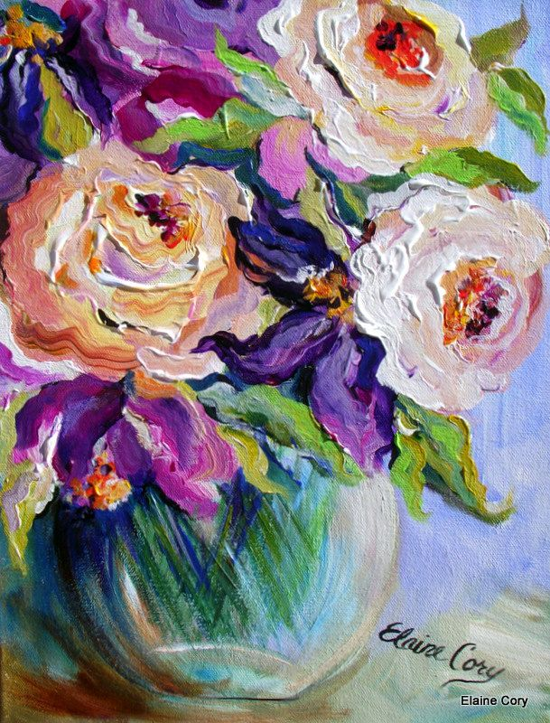 Peach and Purple Floral Original Painting pallette knife 12 x 16 Fine Art by Elaine Cory via Etsy. There is so much texture it looks like if you touch the screen you will feel the ripples of paint