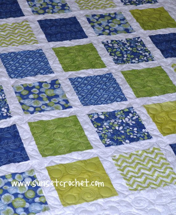 Easy Summer Squares Quilt Pattern 223 by SunsetCrochet on Etsy Quilting Pinterest Square ...