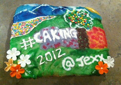The result of three hours of mixing icing with food colorant and getting a bit too creative with cake...