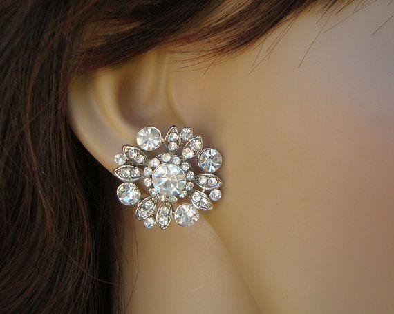 Bridal Earrings Stud Earrings Bridal Rhinestone by DivineJewel, $30.00