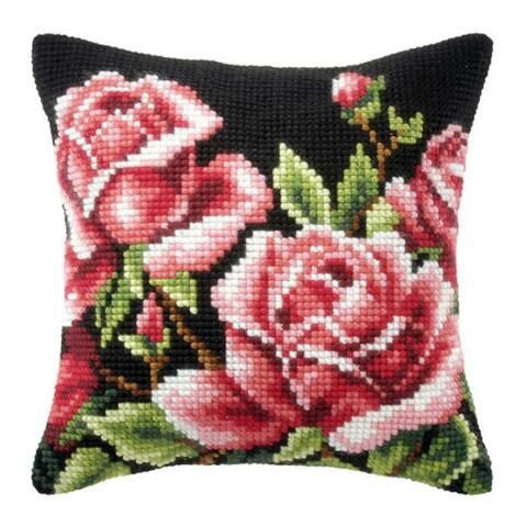 Orchidea Roses on Black Pillow Cover Needlepoint Kit $34.99