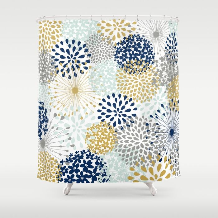 Buy Abstract Floral Navy Grey Gold Shower Curtain By