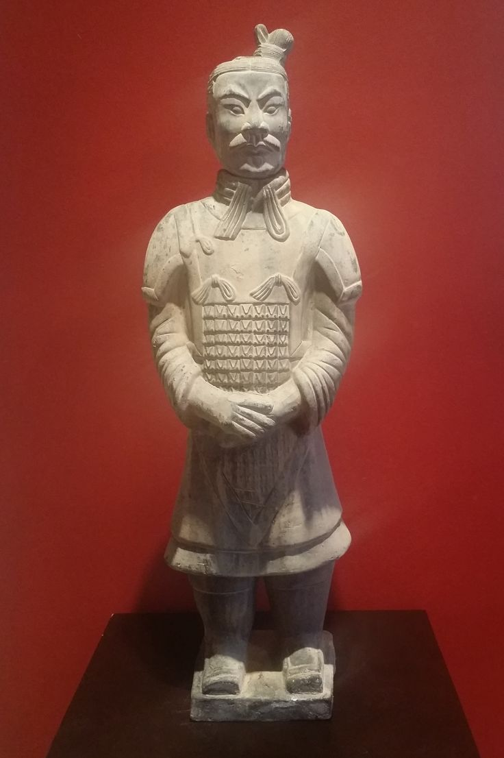 "China's First Emperor, Qin Shihuang commissioned an army of terracotta warriors to be built to protect his mausoleum. About 8,000 were constructed and stood at 6 feet tall. This rare clay replica stands at 29"" and is estimated to be about 30 years old."