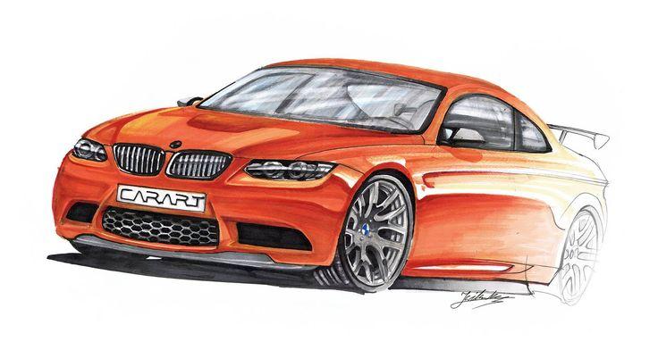 BMW M3 E92 markers 42x29cm drawn in 2012  by Kuba Wilczak
