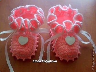 "Crochet baby shoes. Diagrams included.  Uncinetto d'oro: Scarpette ""Cuore""!"