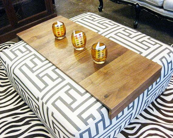 Ottoman Wrap Tray - reclaimed wood drink rest table for couch sofa or ottoman // We need this.