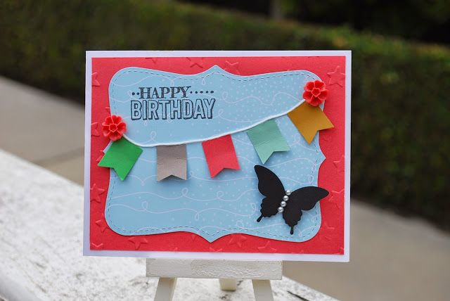 A simple card birthday card, #banner, #incolors, #stampinup, #sneakpeek, #simplecard, #punches, #pinkblingcrafter, #normapimentel, #butterflypunch, #bannerpunch, #bigshotmachine