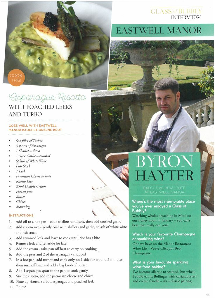 Executive Head Chef, Byron Hayter, interviewed in Glass of Bubbly Magazine | September 2015