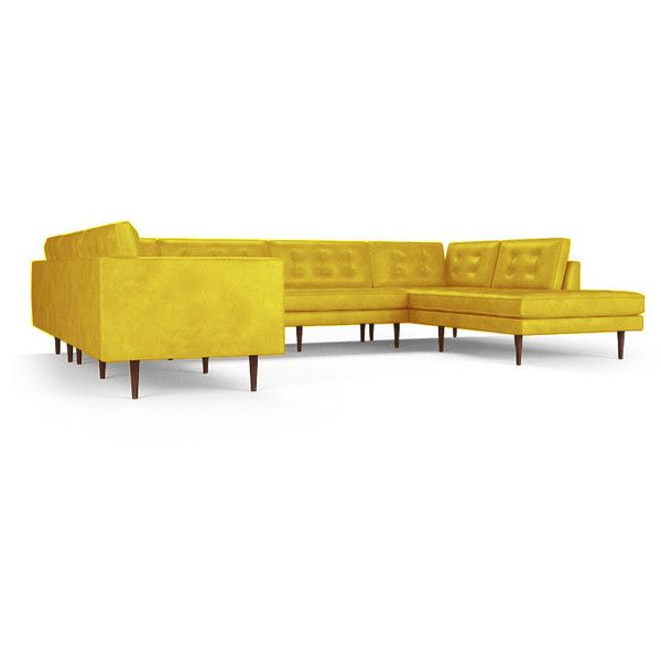 Joybird Braxton Mid Century Modern Yellow Leather U-Sofa Bumper... ($12,104) ❤ liked on Polyvore featuring home, furniture, sofas, yellow, mid century sectional, yellow leather sofa, leather couch, yellow couch and mid century modern sofa