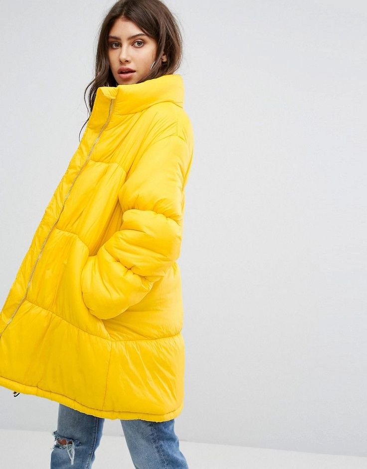 PrettyLittleThing Longline Padded Coat - Yellow