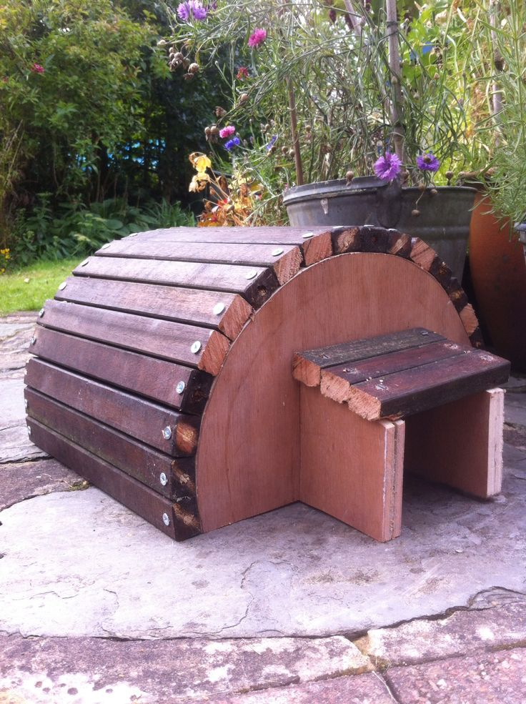 Today I knocked together a Hedgehog House from some scrap wood