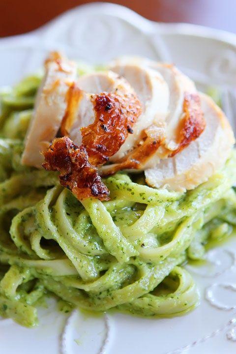 Pasta with Pesto Cream Sauce Recipe