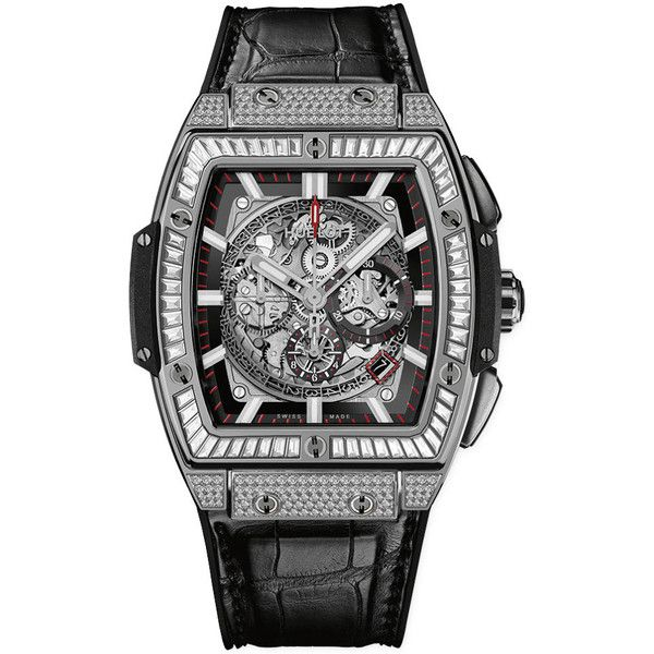 Hublot Spirit Of Big Bang Chronograph 45mm 601.nx.0173.lr.0904 Watch ($64,725) ❤ liked on Polyvore featuring men's fashion, men's jewelry, men's watches, titanium, mens diamond bezel watches, hublot mens watches and mens chronograph watches