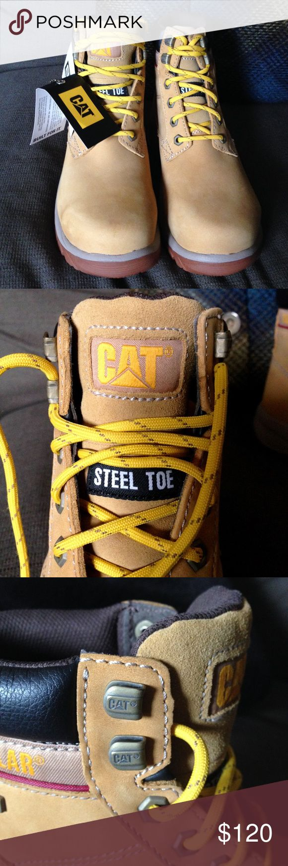 """CATERPILLAR Leather Waterproof Steel Toe Work Boot NWT/Unused and with the $119.99 sales slip CATERPILLAR Tan Leather Upper, Balance man made materials, Waterproof, Steel Toe Work Boot with SRP technology provides """"best in class"""" slip resistance. Box can be sent upon request. Caterpillar Shoes"""